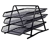Tiedribbons&Reg; Desktop Organizer Tray 3 Tier Organizer Rack Storage for office Documents Letters Files (Black)