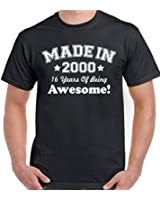 Made in 2000 - 16 Years of Being Awesome - Mens Funny 16th Birthday T-Shirt