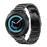 Fintie Armband für Galaxy Watch 42mm & Gear Sport & Gear S2 Classic - Edelstahl Metall Uhrenarmband Ersatzband mit Doppelt Faltschließe (Schwarz)