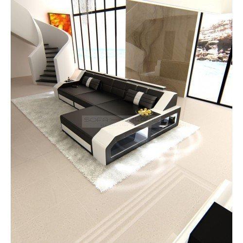 CANAPÉ EN CUIR AREZZO l-forme Noir - Blanc Canapé d'angle design