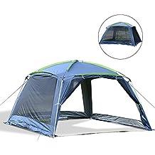 Outsunny Carpa tipo Avancé Plegable para Camping - Azul Oscuro - Tela Oxford 210D - 365x365x220cm