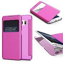URCOVER® Samsung Galaxy S6 Edge | Carcasa Protectora | Plastico + TPU en Rosa Pink | Funda con Ventana Flip Case Wallet Cover Estuche Smartphone
