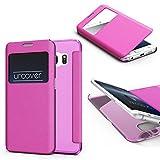 Original Urcover® View Case mit Transparenter Rückseite Handyhülle für das Samsung Galaxy S6 Edge [DEUTSCHER FACHHANDEL] Transparent Case Schutz Hülle Cover Handytasche Pink