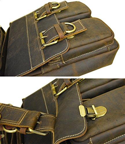 Genda 2Archer Uomini Tracolla in Pelle Crazy Horse Messenger Bag iPad (22cm * 6 cm * 26cm) Marrone