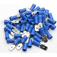 100 conectores macho de 6,3 mm con aislamiento de terminales de crimpado eléctrico