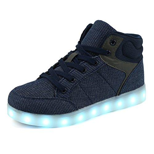 ende Blinkschuhe Turnschuhe Farbe USB Aufladen LED Licht Sportschuhe Hoch oben Lässige Mode Sneakers(Blau,34) (Jungen-leder-kleid-schuhe)
