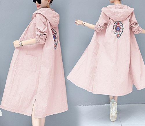 und Sommer literarische Kapuzen-Stickerei Sonnencreme Kleidung Lange Nationale Windjacke,Rosa,L ()