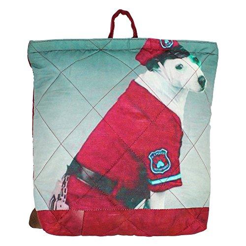 "Digital Graphic Dog Borsa - Adorabile stampa all-over - Poliestere Dupion Faux Seta - 12 ""x 12"" x 4 """