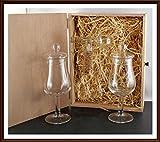 H-BO whisky-chocolate Geschenk 2 Tasting Nosing Gläser Form Signatory mit Knopfdeckel und 1 Flaschenportionierer aus Echtglas im Holzkistchen