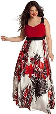 Winwintom Plus Size Las mujeres de baile vestido de noche largo floral impreso vestido de fiesta