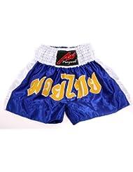 Muay Thai competición foely, satén, colour azul/blanco, color , tamaño XXL