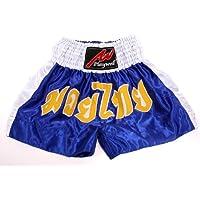 Muay Thai competición foely, satén, colour azul/blanco, color , tamaño M