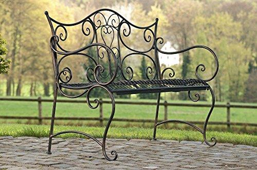 formschöne Gartenbank im Landhausstil aus Eisen / Metall Sitzbank mit Ornamenten bronzefarben 2-3er Parkbank Antikes Design - 2