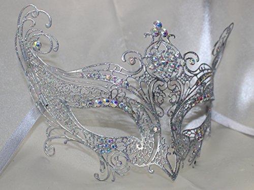 Damen Silber Swarovski-Kristall Filigran Metall Cut Maske mit -