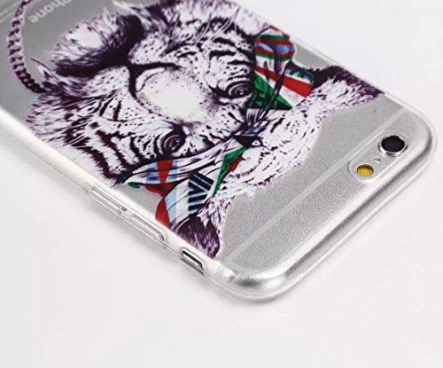 Sunnycase iPhone 6 Plus (5,5 Zoll) Hülle TPU Case Schutzhülle Silikon Crystal Case Durchsichtig iphone6 Handy Tasche Etui mit 1x 7cm Schleife Kristall Bling Strass Diamant Anti Staub Schutz Stecker St Pattern 02