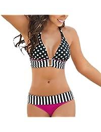 8a3112e288 DAY8 Maillot de Bain 2 Pièces Femme Push Up Grande Taille Tankini Bikini  Bandeau Femme Rayures