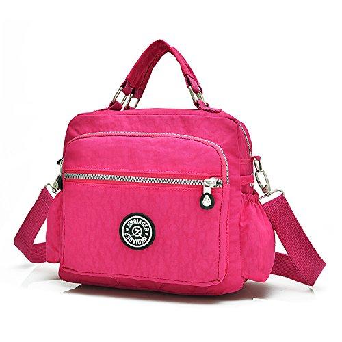 MeCooler Umhängetasche Damen Taschen Designer Kuriertasche Wasserfeste Handtasche Messenger Bag Schultertasche Sporttasche für Mädchen Strandtasche Nylon Reisetasche Rot