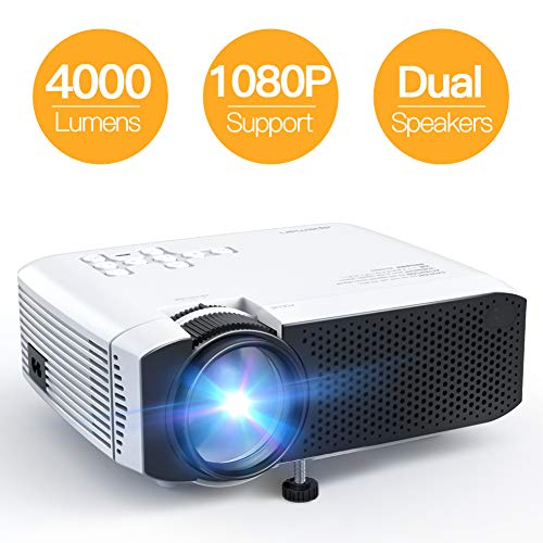 [Aggiornato] Proiettore APEMAN 4000 Lumen Mini Videoproiettore Portatile Doppio Altoparlante del LED fino 50000 Ore Cinema Domestico Compatibile 1080P HDMI/USB/VGA/Micro SD Supporto Android IOS TV Box