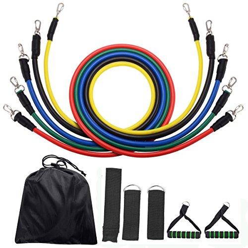 Bande elastiche kit suplyss, 5 fasce di resistenza fitness, set di corde esercizi con maniglie, porta ancora, cinturini alla caviglia per allenamento yoga pilates