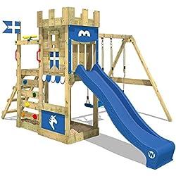 WICKEY Chalet jardin RoyalFlyer Aire de jeux Tour d'escalade avec balançoire et toboggan, bac à sable, mur d'escalade et echelle à grimper