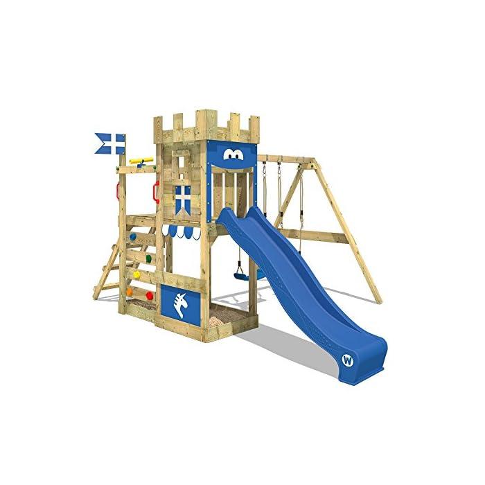WICKEY Spielturm RoyalFlyer - Klettergerüst mit Schaukel, Sandkasten, Kletterwand und -leiter, blauer Plane und blauer…