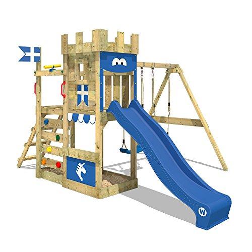 WICKEY Spielturm RoyalFlyer - Klettergerüst mit Schaukel, Sandkasten, Kletterwand und -leiter, blauer Plane und blauer Wellenrutsche