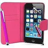 Supergets® Schlichte Einfarbige Hülle für Apple Iphone 5S / 5 S Brieftasche in Lederoptik, Schale mit Karteneinschub, Etui, Buchstil Geldbörse, Mit Schutzfolie, 2 Eingabestifte