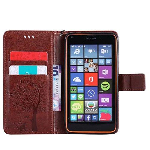 Nokia Lumia N640 Case, Embossing gepresst Blumen Katze und Baum Muster Solid Color PU-Leder Tasche weichen Silikon-Cover Flip-Stand Geldbörse mit Lanyard Tasche für Nokia N640 ( Color : 11 , Size : No 10