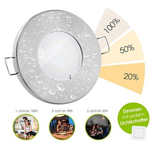 linovum® LED Bad Downlight 10er Set IP65 mit fourSTEP - Dimmen ohne Dimmer 5W flach IP65 für Bad, Dusche oder außen warmweiß