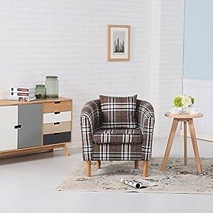 51q3CiAUhqL. SS300  - Premium Tartan Fabric Tub Chair Armchair Dining Living Room Office Reception