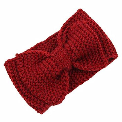 Tonsee® Nouveau Femmes Crochet Bandeau Bow en tricot d'hiver Headwrap Ear Warmer Hairband Mode (H)