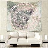 Dremisland Grau und Rosa Runde Blumen wandteppich Tapisserie indisch Mandala hippie Bohemien Orientalisch wandtuch wandbehang Wand Dekoration Tapestry (L/203x153cm(80x60inch))