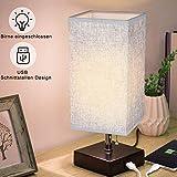 Tischlampe aus Holz, Nachttischlampe, mit Zugschalter Stehlampe auf Tisch, E27-Fassung & EU-Stecker Warmweiß für Wohnzimmer, Kinderzimmer, Schlafzimmer, Esszimmer Eckig Dunkelgrau