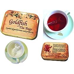 Personalisiertes Geschenk 4Goldfish Tee Staubsaugerbeutel, Hibiskus und Minze, einzigartiges Geschenk, Creative Teebeutel, Geburtstag Geschenk, personalisierbares Geschenk mit Ihrer Nachricht