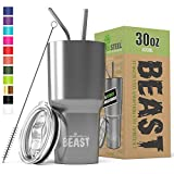 BEAST 30 oz (850ml) Tumbler Stainless Steel Vacuum Insulated Coffee Cup Double Wall Travel Flask with Splash Proof Lid, 2 Straws & Free Cleaning Brush – Premium Quality Gift Bundle by Greens Steel