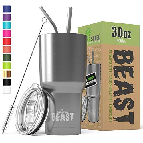 Le gobelet BEAST de 30 oz en acier inoxydable isolé pour randonneur Tasse de café double paroi Mug de voyage avec couvercle anti-éclaboussures, 2 pailles, brosse de canalisation et paquet de boîte-cadeau par Greens Steel.