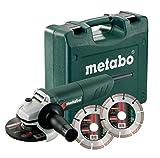 Metabo W 850–125 Kit Meuleuse d'Angle + 2 Disques à Tronçonner Diamantés, Vert