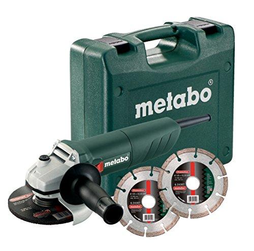 Metabo W 850–125Kit meuleuse d'angle avec 2disques à tronçonner diamantés, 1pièce, vert/gris/noir/rouge, 601233510