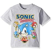 Sega Boys' Little Sonic The Hedgehog Short Sleeve Tshirt, heather grey, 5/6