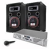 DJ/PA Komplettset Basic mit PA-240 480W PA-Verstärker Anlage und 1000W PA-Boxen + Mikrofon & Kabelset