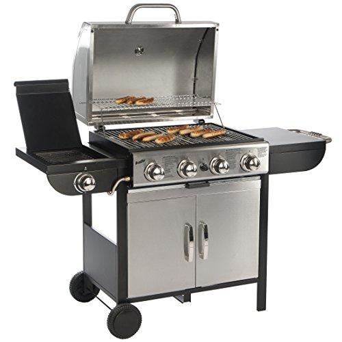Bruzzzler 4 + 1 Gasgrill, Profi-Grillstation für BBQ, Räuchern und Grillen, mit 4 Hauptbrennern und 1 Seitenkocher, Farbe: silber