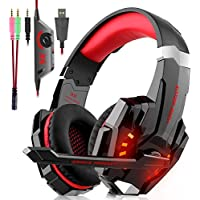 Auriculares Cascos Gaming Con Cable - Micrófono con Reducción de Sonido y Control de Volumen Gaming