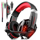 Cuffie gaming - Over-Ear Gaming Cuffia con microfono, Cancellazione del rumore, Controllo del volume, Illuminazione a LED per PS4 Xbox One Nintendo PC Laptop Tavoletta