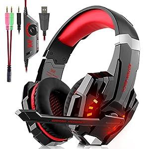 Gaming Headset für PS4 Xbox One PC, Gaming Kopfhörer mit Mikrofon, LED Light, Lautstärkeregler und LED Licht für PS4 Xbox One Nintendo Switch Mac PC Laptop Tablet Handy