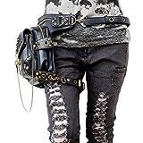 SUPER-BAB PU pelle moto Punk Rock Vintage Messenger Tracolla borsa corpore multifunzione obliqua croce pacchetto per femmina nera immagine