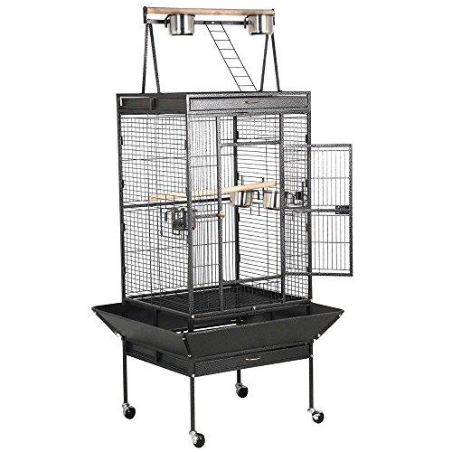 Popamazing, grande gabbia per uccelli, di alta qualità, per canarini, pappagalli, una stabile voliera con posatoi e apertura superiore