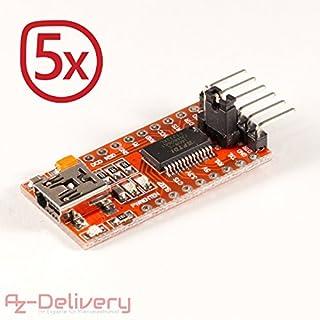 AZDelivery ⭐⭐⭐⭐⭐ 5 x FTDI Adapter FT232RL USB zu TTL Serial für 3,3V und 5V mit gratis eBook!