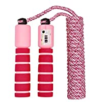 nuoshen Children Jump Rope with Counter, Adjustable Kids Skipping Rope Jump Speed Rope for Boys Girls Fitness & Exercise(Rose red and pink)