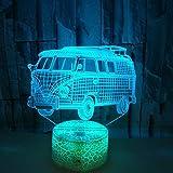 Petit bus voiture tactile télécommande couleur 3D lumière bus décoration 3D lumière fissure lumière de nuit 3D
