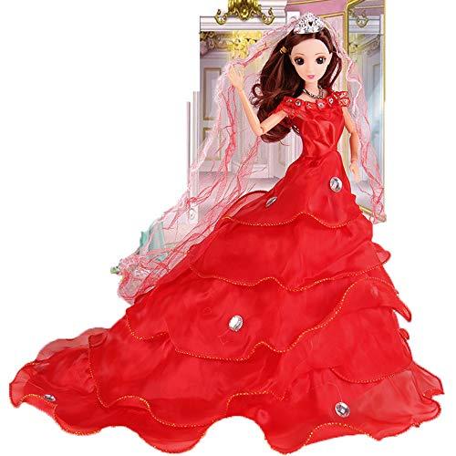 ZMH Puppen Kleidung Für Prinzessin Hochzeitskleid Noble Party-Gewand Für Doll Mode Design Outfit Mädchen Lady Red (Doll Ziemlich Kostüm)